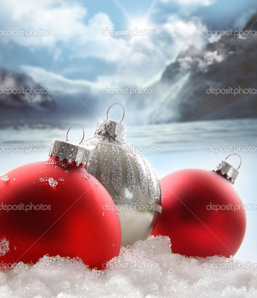 Three red Christmas balls in the snow on white  Foto Stock #4340674