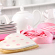 Pink heart-shape cookies for Valentine's Day — Stock Photo