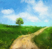 Digital painting of an idyllic country road — Stock Photo