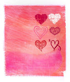 Abstract pink watercolor background with hearts — Stock Photo
