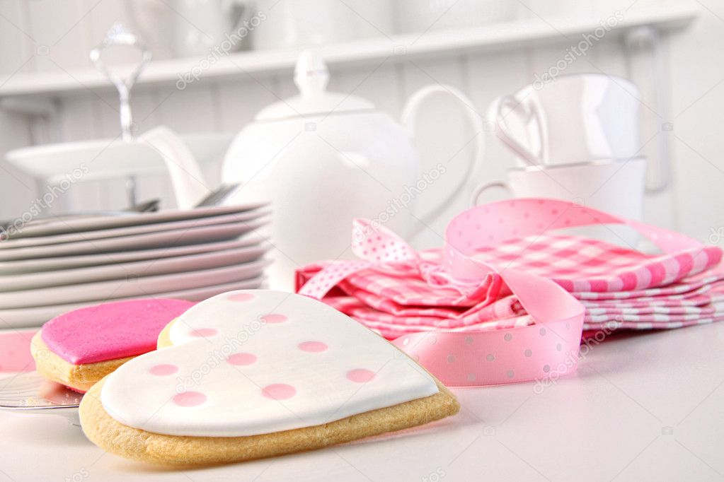 Pink heart-shape cookies for Valentine's Day  Stock Photo #4640125