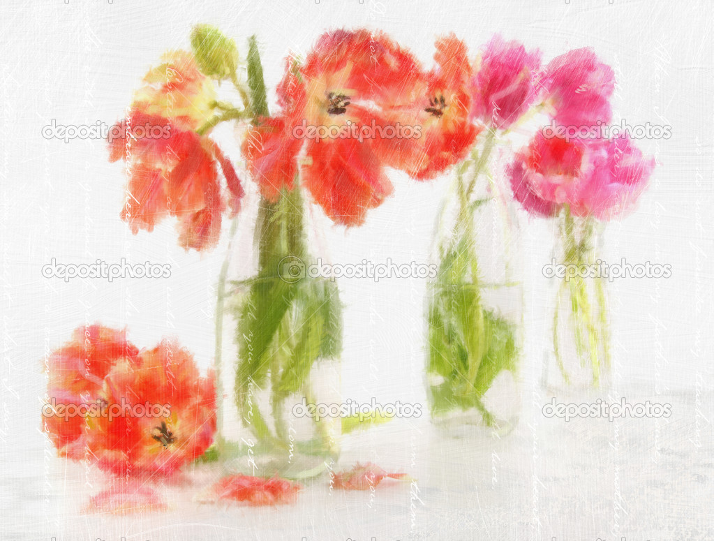 Digitally rendered watercolor of spring  tulips in bottles — Stock Photo #4640134