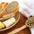 Assortment of spa brushes and accessories — Stock Photo