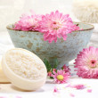 Spa scene with pink  flowers in water - Foto Stock