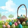 Colorful easter eggs in field of grass — Stock Photo