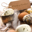 Royalty-Free Stock Photo: Brown speckled eggs  with easter card