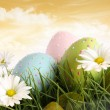 Stock Photo: Closeup of decorated easter eggs in the grass with flowers