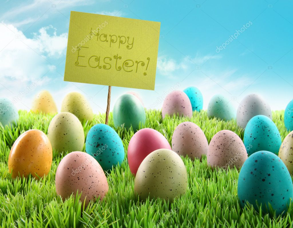 Colorful Easter eggs with sign in a grass field with blue sky — Stock Photo #5042691