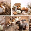 Stock Photo: Collage of assorted brown eggs images for easter