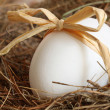 White egg with bow on straw - Stock Photo