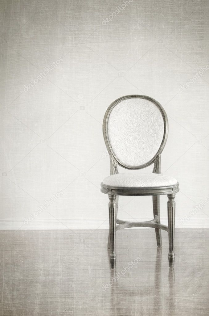 Antique Chair With Grunge Style Background Stock Photo