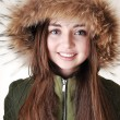Girl with fur hat. — Stock Photo
