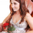 Beautiful woman with red rose. — Stock Photo #4661977