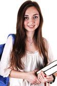 Schoolgirl with backpack. — Stock Photo