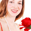 Beautiful woman with red, rose. — Stock Photo