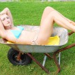 Bikini girl in a wheelbarrow. — Stock Photo #4696788