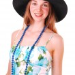 Young lady with hat. — Stock Photo