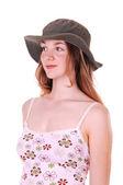 帽子を持つ若い女性. — Stock fotografie