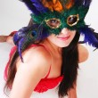 Girl in red lingerie with mask. — Stock Photo