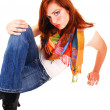 Tall red hair girl. - Stock Photo