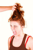 Don't pull my hair. — Zdjęcie stockowe