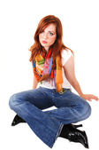 Tall red hair girl. — Stock Photo
