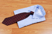 Blue dress shirt with tie. — Stock Photo