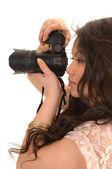 Docela asijské dívka s fotoaparátem. — Stock fotografie