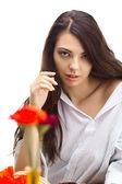 カフェで美しい女性 — ストック写真