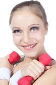 Mujer hermosa en fitness — Foto de Stock