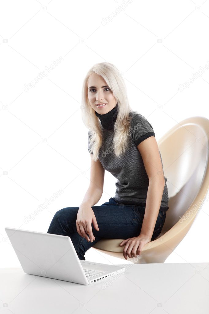 Beautiful woman  with computer over white background — Stock Photo #4175047