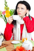 Beautiful woman in cafe — ストック写真