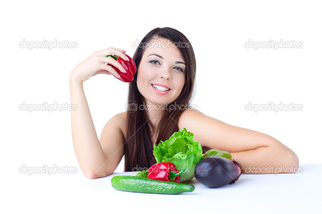 Young girl with  vegetables over white background — Stock Photo #4259987
