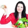 Beautiful woman  with vegetables — Stock Photo