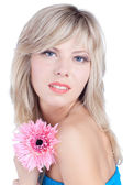 Beautiful woman over white background — Stock Photo