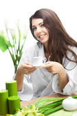Woman With Cup Of Coffe — Stock Photo