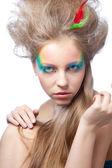 Mooie vrouw met kleur make-up — Stockfoto