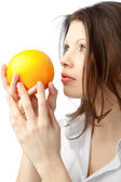 Woman With Orange — Stock Photo