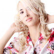 Blond model wearing a color shirt — Stock Photo
