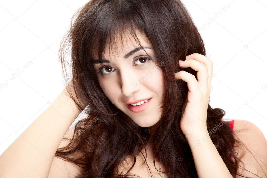 Portrait beautiful fine  woman   over white background — Stock Photo #4516179