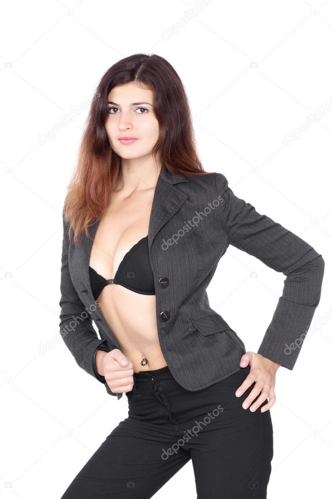 Beautiful Blond Wearing Blue Jeans And Black Shirt — Stock Photo