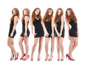 Group young women over white — Stock Photo