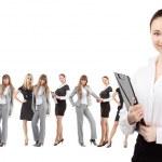 Women leader of team isolated over white — Stock Photo