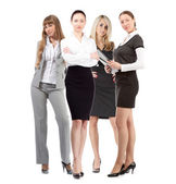 Women leader of team isolated over white — Stock Photo