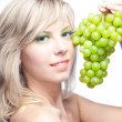 Young girl with grape - Lizenzfreies Foto