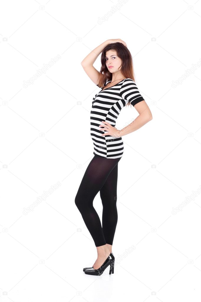 Beauty girl in t-shirt from material in white stripes on white background — Stock Photo #4821035