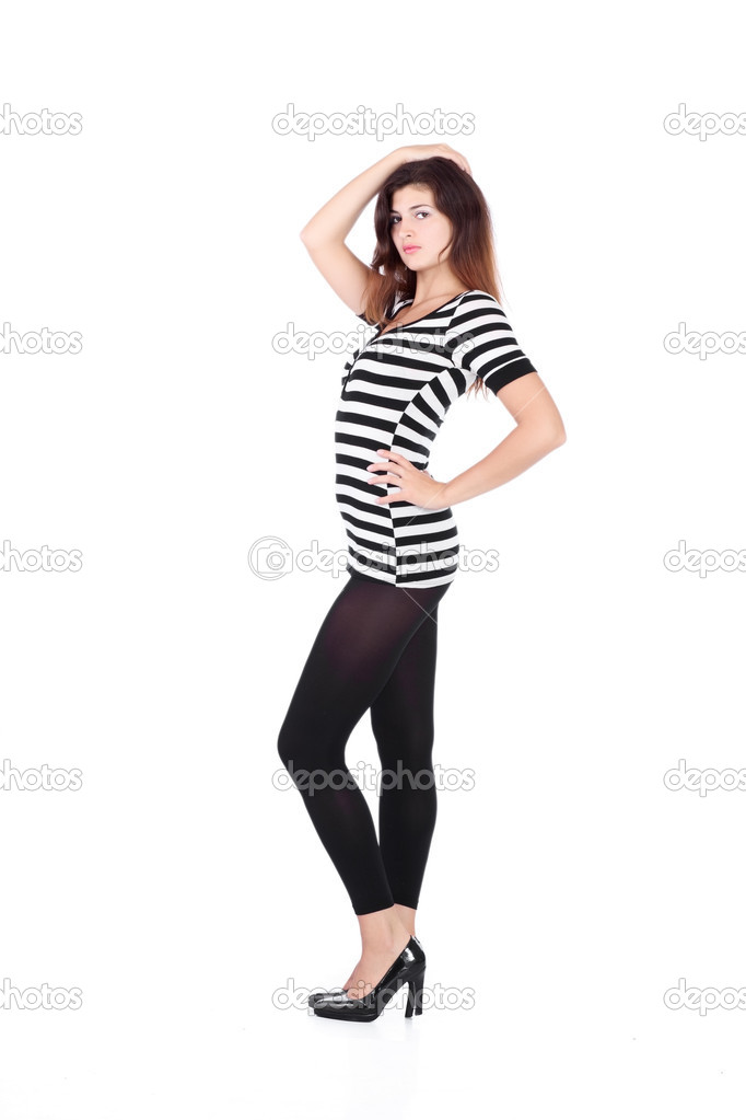 Beauty girl in t-shirt from material in white stripes on white background  Stock Photo #4821035