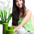 Beautiful woman  in cafe — Stock Photo