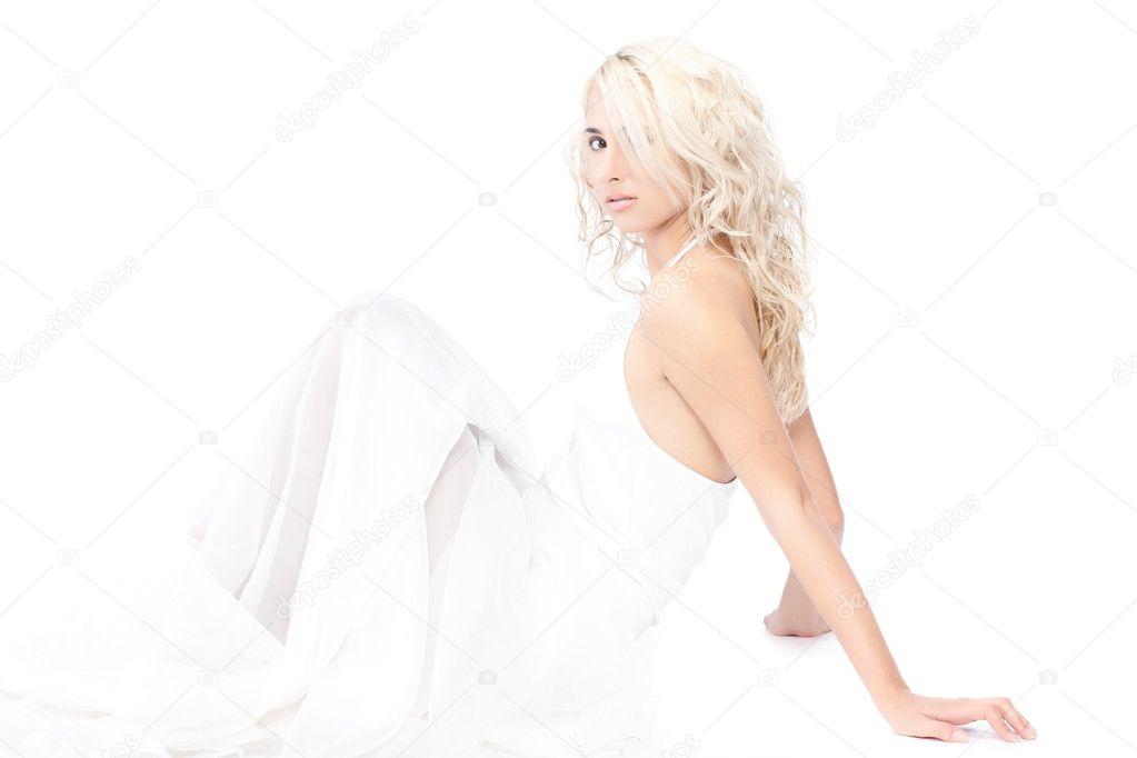 Luxury Beautiful Woman White Dress On White Stock Photo 216880795