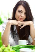 Beautiful woman in cafe — Stock Photo